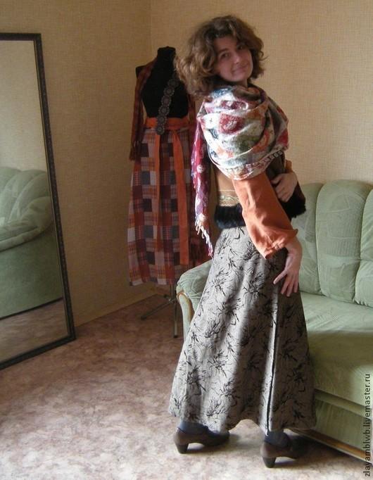 """Юбки ручной работы. Ярмарка Мастеров - ручная работа. Купить Понёва """"Тёмная клякса"""". Handmade. Коричневый, длинная юбка, лен"""