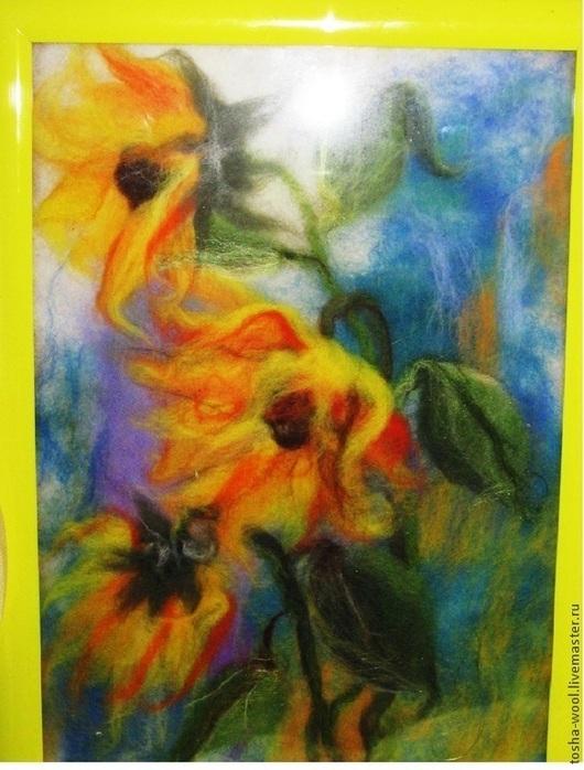 """Картины цветов ручной работы. Ярмарка Мастеров - ручная работа. Купить Картина из шерсти """"Подсолнухи"""". Handmade. Шерсть, шерстяная акварель"""