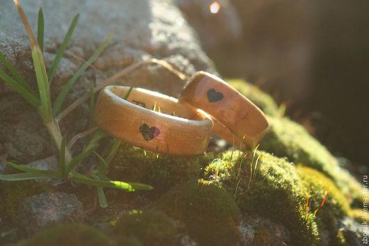 Кольца ручной работы. Ярмарка Мастеров - ручная работа. Купить Деревянные кольца с сердцем. Handmade. Бежевый, береза, обручальные кольца