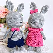 Куклы и игрушки handmade. Livemaster - original item A pair of gray bunnies in suits. Handmade.