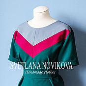 Одежда ручной работы. Ярмарка Мастеров - ручная работа Платье с контрастной вставкой. Handmade.