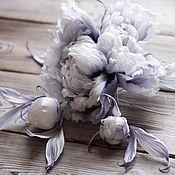 Цветы ручной работы. Ярмарка Мастеров - ручная работа Пион брошь `Chanel цветы из шелка. Handmade.