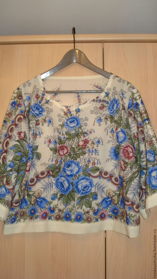 Блузка из павлопосадских платков Весеннее утро голубые цветы. Уютная, комфортная, нарядная, рубашечный рукав. Можно носить с юбкой, брюками, джинсами.
