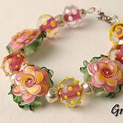 Браслет из бусин ручной работы. Ярмарка Мастеров - ручная работа Браслет Персиковые цветы. Handmade.