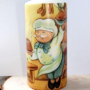 Для дома и интерьера ручной работы. Ярмарка Мастеров - ручная работа Кухонный интерьер: Интерьерная свеча с Поваром. Handmade.