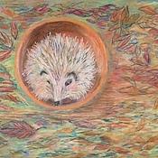 Картины и панно handmade. Livemaster - original item hedgehog in the autumn Park. Handmade.