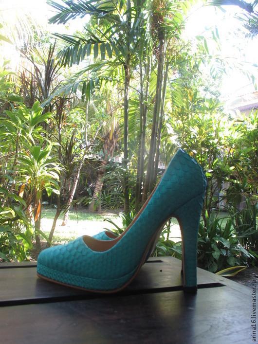 Обувь ручной работы. Ярмарка Мастеров - ручная работа. Купить Туфли бирюзовые. Handmade. Бирюзовый, туфли кожаные