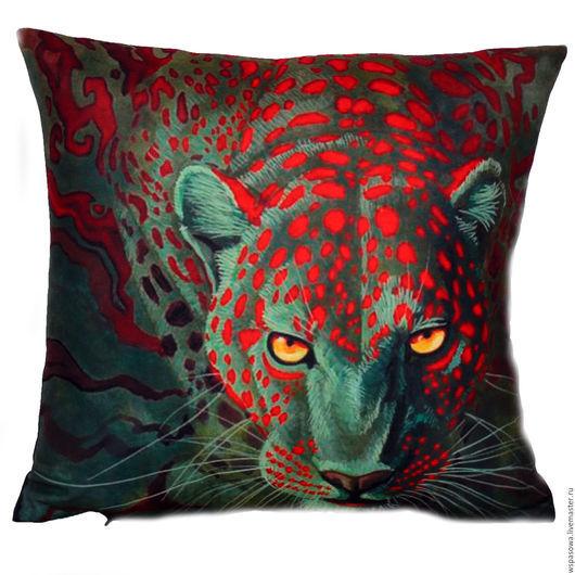 Текстиль, ковры ручной работы. Ярмарка Мастеров - ручная работа. Купить Декоративная подушка с леопардом. Handmade. Разноцветный, подушка с леопардом