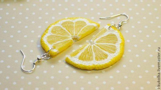 """Серьги ручной работы. Ярмарка Мастеров - ручная работа. Купить Серьги """"Лимон """". Handmade. Желтый, серьги, украшения"""