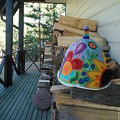 """Для дома и интерьера ручной работы. Ярмарка Мастеров - ручная работа Банная шапка""""Цветник"""". Handmade."""