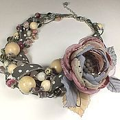 Украшения handmade. Livemaster - original item Blues pink clouds. jewelry set. Necklace, brooch fabric flower. Handmade.
