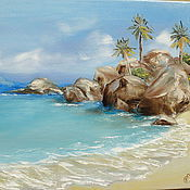 """Картины и панно ручной работы. Ярмарка Мастеров - ручная работа РезервКартина маслом """"Пальмовый остров"""",40х60 (море, остров, пейзаж). Handmade."""