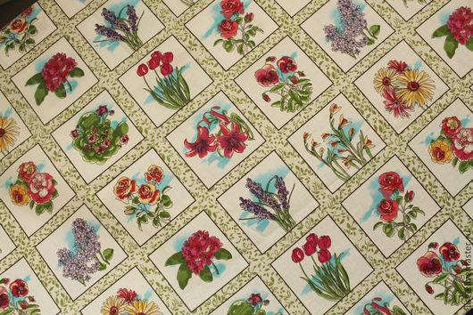 """Шитье ручной работы. Ярмарка Мастеров - ручная работа. Купить Ткань """"Нарисованные цветы"""". Handmade. Ткани для рукоделия, ткани для декора"""