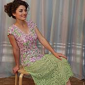 """Одежда ручной работы. Ярмарка Мастеров - ручная работа Костюм вязаный """"Нежность"""", платье летнее, ирландское кружево. Handmade."""