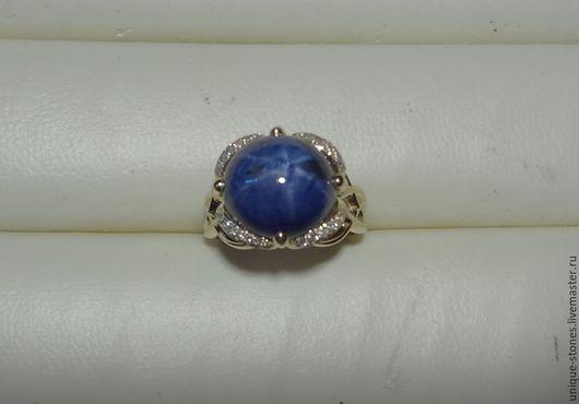 Кольца ручной работы. Ярмарка Мастеров - ручная работа. Купить Золотое кольцо с природным звездчатым сапфиром. Handmade. Синий