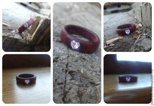 Кольца ручной работы. Ярмарка Мастеров - ручная работа. Купить Амарант+розовый фианит. Handmade. Подарок девушке, свадьба, деревянные кольца