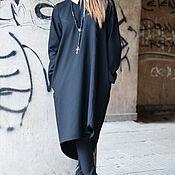 Платья ручной работы. Ярмарка Мастеров - ручная работа Стильное, черное платье из холодной шерсти - DR0095CW. Handmade.