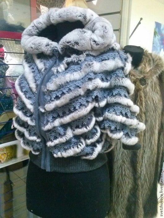 Верхняя одежда ручной работы. Ярмарка Мастеров - ручная работа. Купить Куртка из трикотажа с кроликом рекс. Handmade. Серый