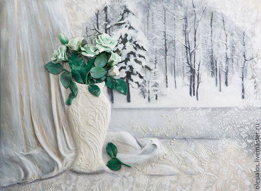 """Натюрморт ручной работы. Ярмарка Мастеров - ручная работа. Купить Объемное панно """"Зима за окном"""". Handmade. Белый"""