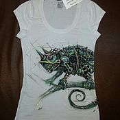 Одежда handmade. Livemaster - original item Hand-painted Chameleon steampunk t-shirt. Handmade.