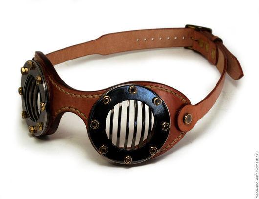 """Ролевые игры ручной работы. Ярмарка Мастеров - ручная работа. Купить Мото очки в стиле Стимпанк - """"FLATS"""" TAN. Handmade."""