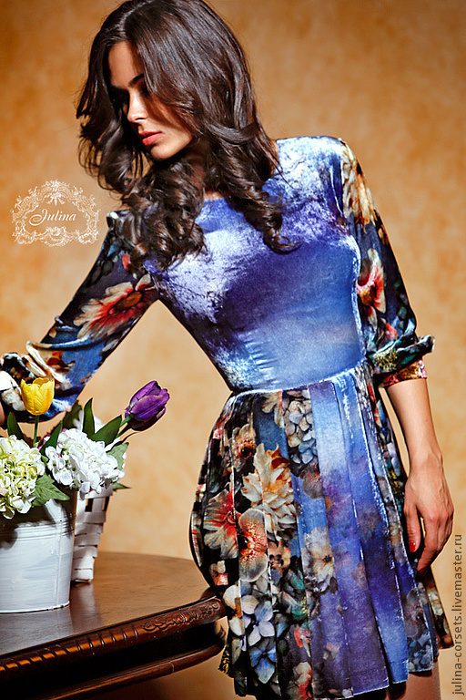 """Платья ручной работы. Ярмарка Мастеров - ручная работа. Купить Платье """"Барокко"""" бархат шелковый. Handmade. Голубой, винтаж"""