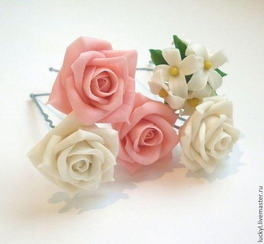 """Свадебные украшения ручной работы. Ярмарка Мастеров - ручная работа. Купить Шпильки для свадебной прически """"Для прекрасной"""" (шпильки с цветами). Handmade."""