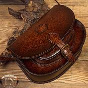 Классическая сумка ручной работы. Ярмарка Мастеров - ручная работа Сумка-седло с закругленным дном из натуральной кожи, имитированной под. Handmade.