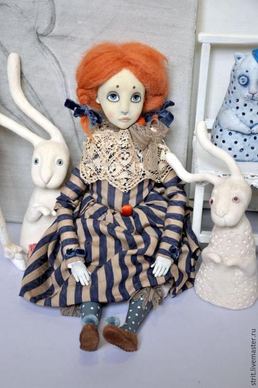 Коллекционные куклы ручной работы. Ярмарка Мастеров - ручная работа. Купить Подвижная будуарная кукла Дениза. Handmade. Рыжий, в полосочку
