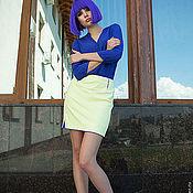 Одежда ручной работы. Ярмарка Мастеров - ручная работа Стильная желтая юбка с синими вставками. Handmade.