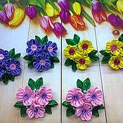 """Заколки ручной работы. Ярмарка Мастеров - ручная работа Резиночки """"Милые цветочки"""".. Handmade."""