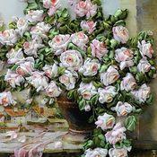 """Картины и панно ручной работы. Ярмарка Мастеров - ручная работа """"Розы для любимой""""(вышивка лентами). Handmade."""