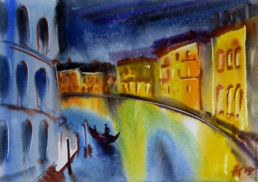 Город ручной работы. Ярмарка Мастеров - ручная работа. Купить Акварельная Венеция. Handmade. Тёмно-синий, акварель, венеция, лодка
