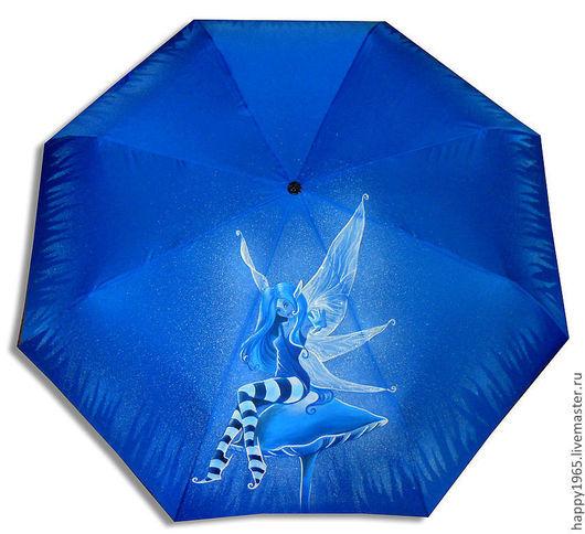 """Зонты ручной работы. Ярмарка Мастеров - ручная работа. Купить зонт ручной росписи """"Голубой эльф"""". Handmade. Синий, эльф"""