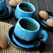 Посуда handmade. Livemaster - original item A couple of tea custom. Mug with saucer. Coffee steam. Handmade.