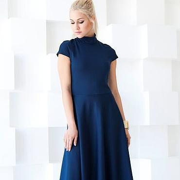 Одежда ручной работы. Ярмарка Мастеров - ручная работа Платье синее теплое, платье из джерси. Handmade.