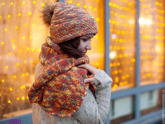 яркая шапка, рыжая шапка, рыжий шарф, шапка, шапки, шапка вязаная, шапка женская, шарф,шарф вязаный, вязаный комплект, снуд, шапка и шарф вязаные