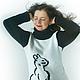 Кофты и свитера ручной работы. Свитер-туника  black cat. Шапошникова Наталья. Ярмарка Мастеров. Вязанная, хлопок 100%, кошка