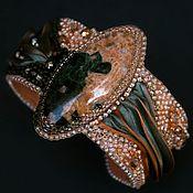 Украшения handmade. Livemaster - original item Beaded bracelet `Elegant luxury` shibori Swarovski gemstone coral grey. Handmade.
