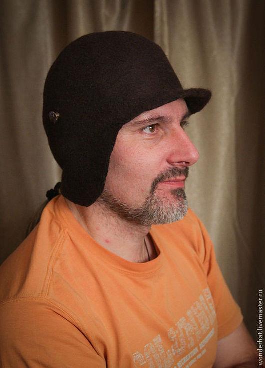 """Шапки ручной работы. Ярмарка Мастеров - ручная работа. Купить Шапка с козырьком """"Макс"""". Handmade. Коричневый, мужская шапка"""