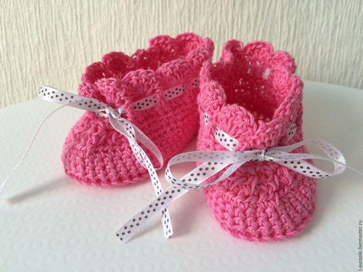 """Для новорожденных, ручной работы. Ярмарка Мастеров - ручная работа. Купить """"Маленькая француженка"""" пинетки для малышки из хлопка. Handmade. Розовый"""