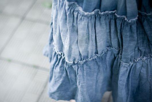 Юбки ручной работы. Ярмарка Мастеров - ручная работа. Купить Юбка бохо-джинс (светлая). Handmade. Голубой, бохо-стиль
