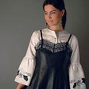 """Эксклюзивный комплект """"Черная роза"""" кожаный сарафан и вышитая блуза"""