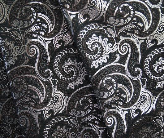"""Шитье ручной работы. Ярмарка Мастеров - ручная работа. Купить Натуральная замша """" Пейсли - чёрная с серебром """". Handmade."""