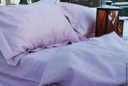Текстиль, ковры ручной работы. Ярмарка Мастеров - ручная работа. Купить Постельное белье из сиреневого жаккард премиум класса. Handmade.