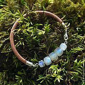 Браслет из натуральных камней, кожаный браслет с лунным камнем