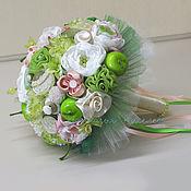 Свадебный салон ручной работы. Ярмарка Мастеров - ручная работа Букет невесты Зеленое яблочко. Handmade.