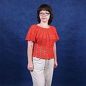 Одежда ручной работы. Ярмарка Мастеров - ручная работа июль Топ Лето в ажуре красный. Handmade.