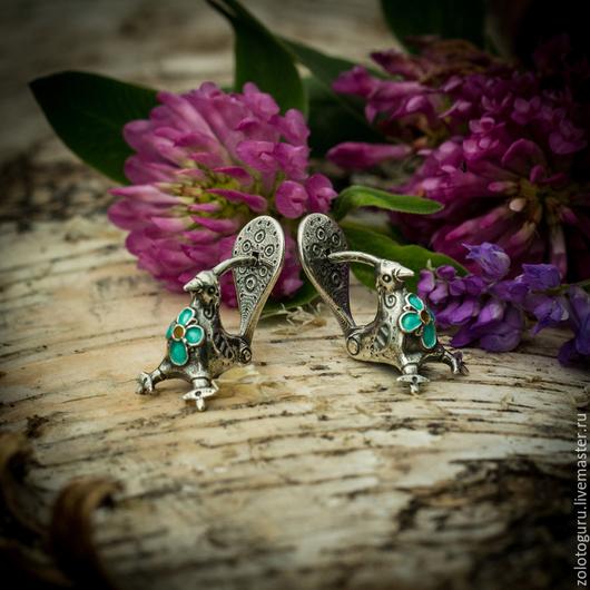 Серьги ручной работы. Ярмарка Мастеров - ручная работа. Купить Серьги «Птицы-Голубицы» из серебра. Handmade. Птицы