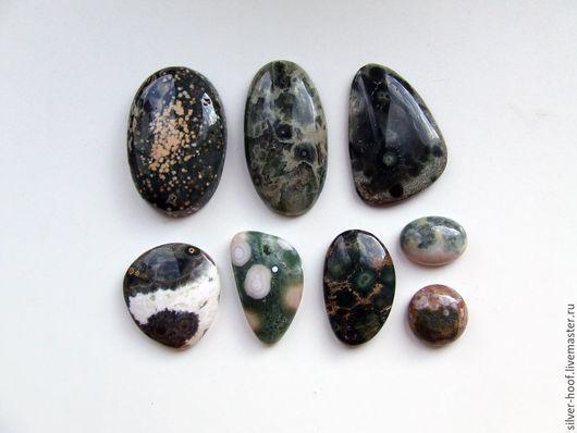 Для украшений ручной работы. Ярмарка Мастеров - ручная работа. Купить Кабошоны океаническая яшма АССОРТИМЕНТ. Handmade. Зеленый, камни